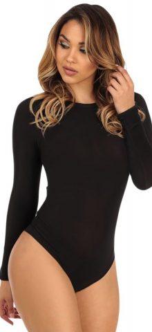Women Cutout Back Black Long Sleeve Bodysuit