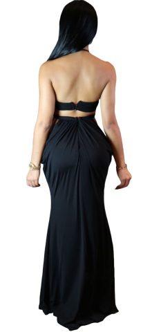Women Formal Cutout Halter Black Evening Gowns