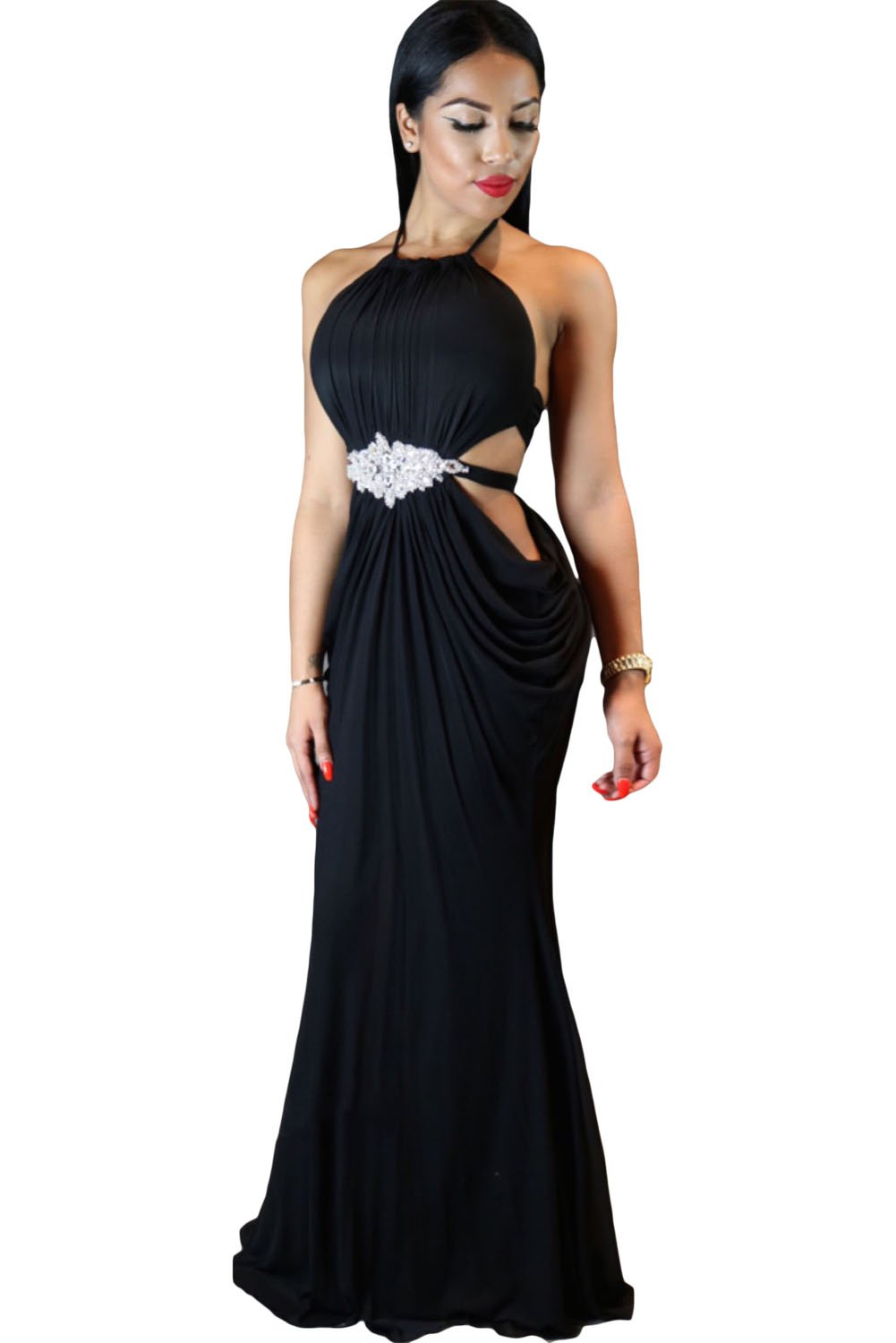 women formal cutout halter black evening gowns  online