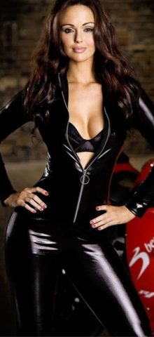 Women Full Sleeve Zip Front Black Leather Jumpsuit