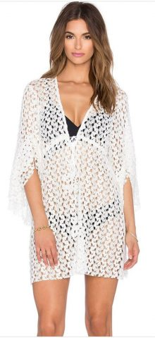 Women Hollow Out White Kaftan Beach Cover Up
