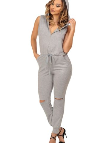 Women Knee Cutout Sleeveless Gray Hooded Jumpsuit