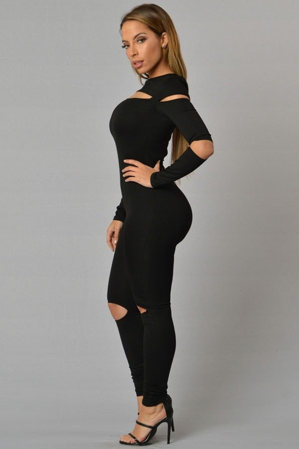 women long sleeve skinny black jumpsuit outfit  online