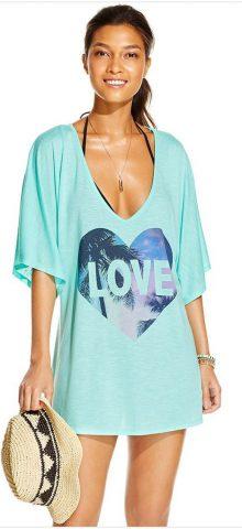 Women Love Print Loose Blue Swim Cover Up Tunic