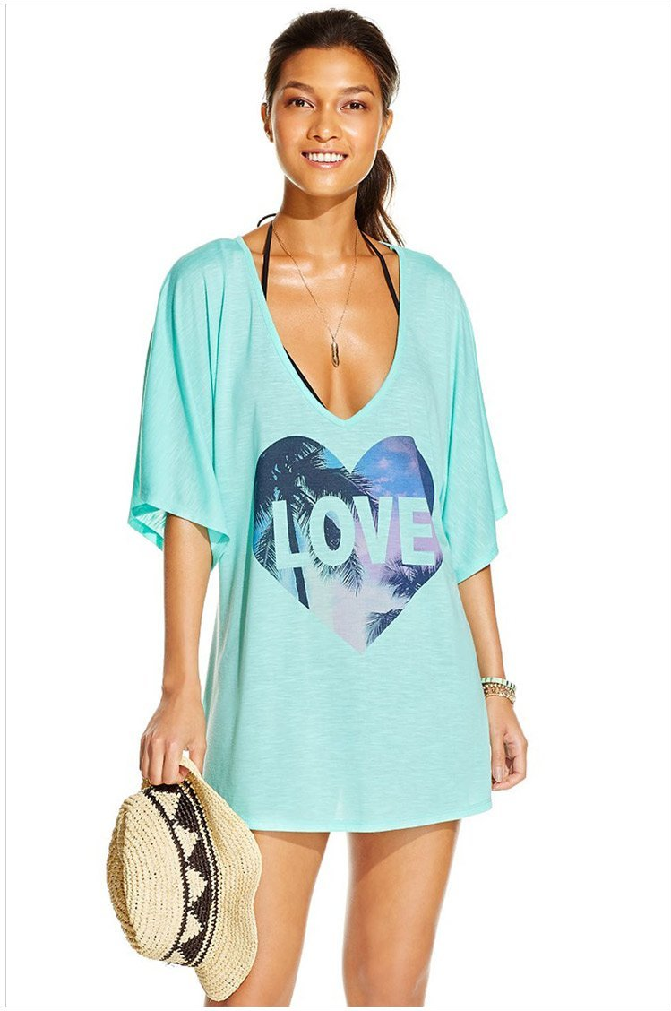 bb6182fcfdb Women Love Print Loose Blue Swim Cover Up Tunic - Online Store for ...