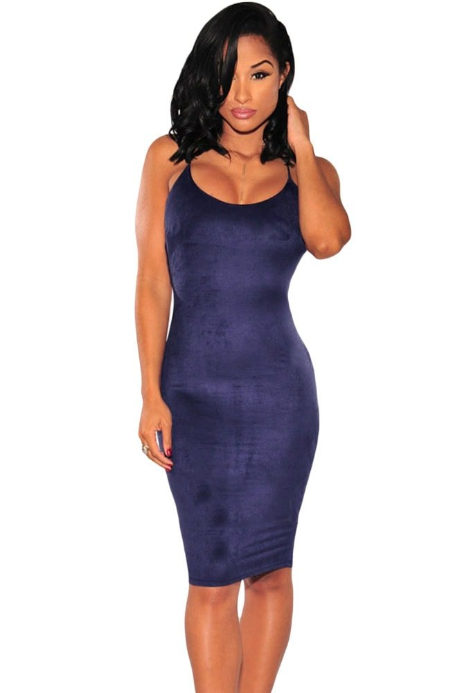 Women Navy Blue Strappy Bodycon Homecoming Dresses