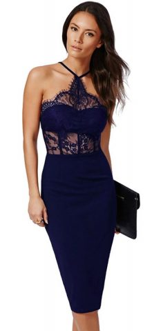 Women Navy Lace Halter Top Summer Dresses
