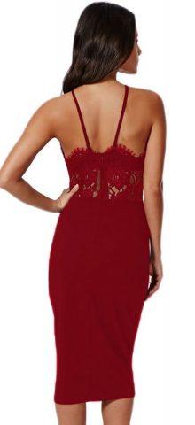 Women Navy Lace Short Red Halter Dress
