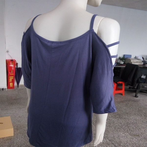 Women OFF The Shoulder Light Blue Top Tee T Shirts