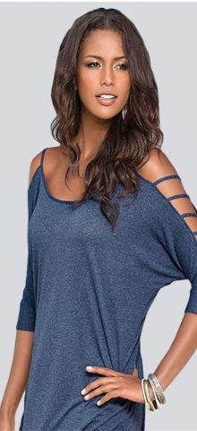 Women OFF The Shoulder Light Blue Top Tee T Shirts