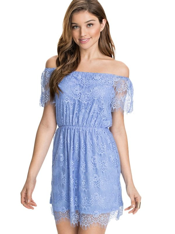 1523dc4daaeb Women Off-Shoulder Lace Light Blue Summer Dress - Online Store for ...