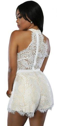 Women Off Shoulder Sleeveless White Lace Romper