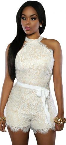 Women Off Shoulder Sleeveless White Lace Romper