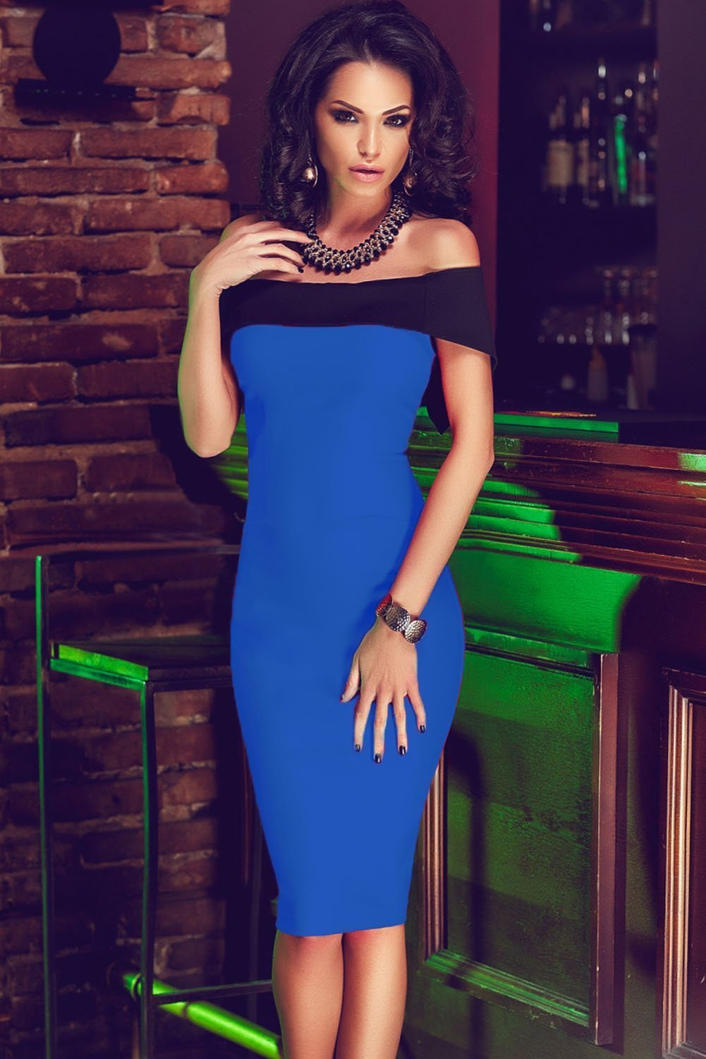 Women Off The Shoulder Mini Royal Blue Bodycon Dress