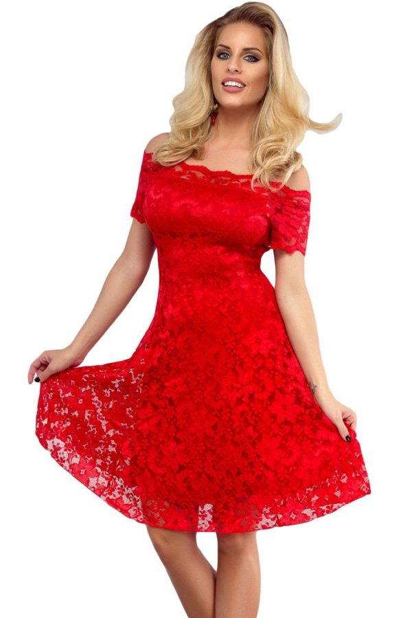 Women Off The Shoulder Lace Red Strapless Skater Dress
