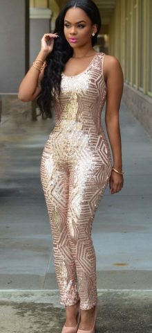 Women Party Sleeveless Champagne Sequined Jumpsuit