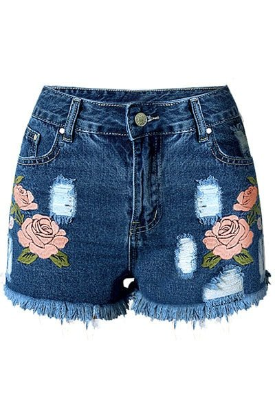 Women rose embroidered cutoff jean shorts online store