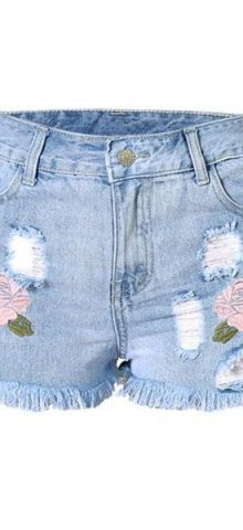 Women Rose Embroidered Denim Cutoff Shorts