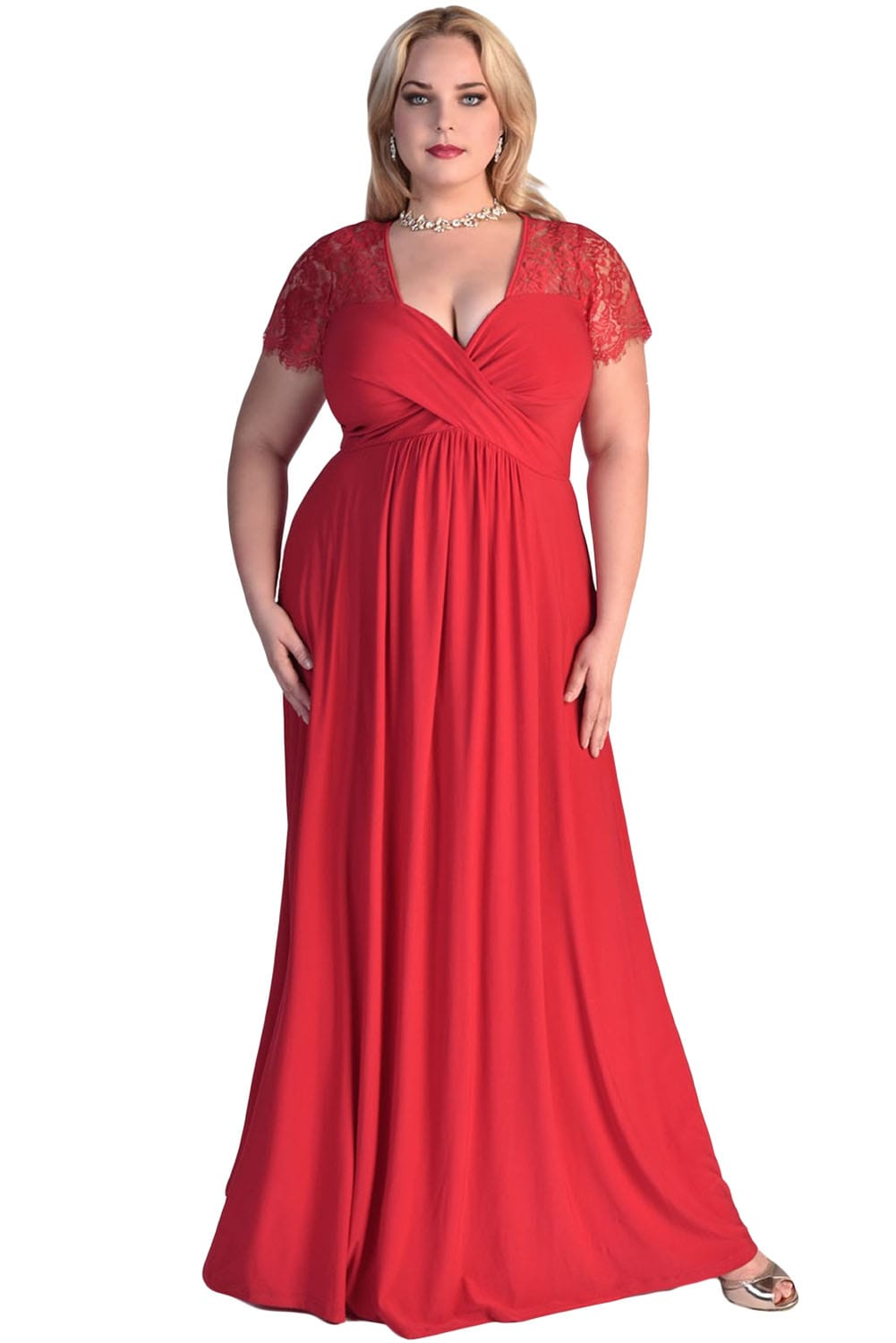 Women Ruched Twist High Waist Red Plus Size Gala Dresses