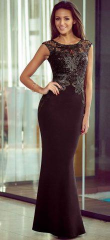 Women Sequin Black Lace Floor Length Gowns