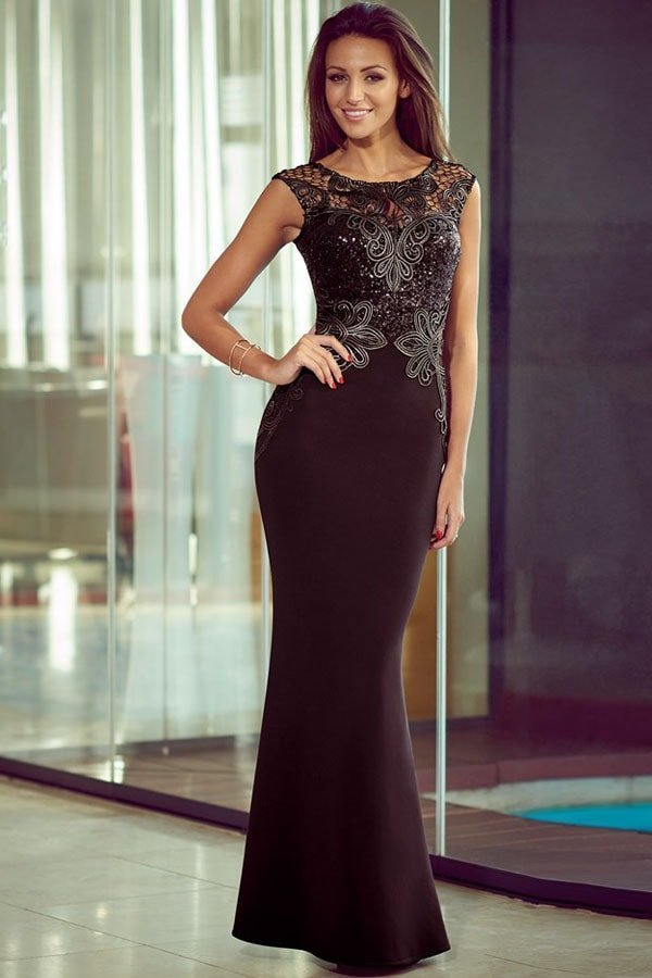 Women Sequin Black Lace Floor Length Gowns Online Store