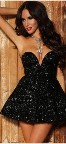 Women Sexy Black Sequin Evening Cocktail Dresses
