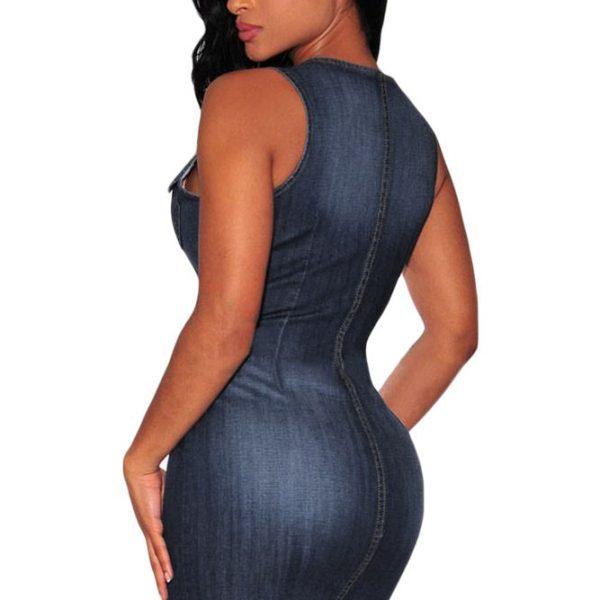 010cac63f5 Women Short Blue Sleeveless Denim Button Up Dress - Online Store for ...
