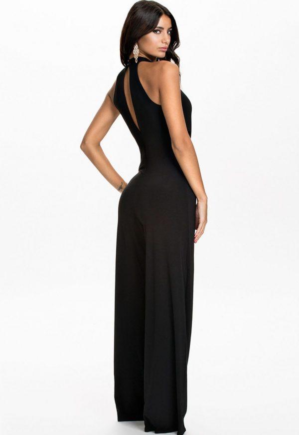 Women Sleeveless Cut Outs Black Halter Top Jumpsuit