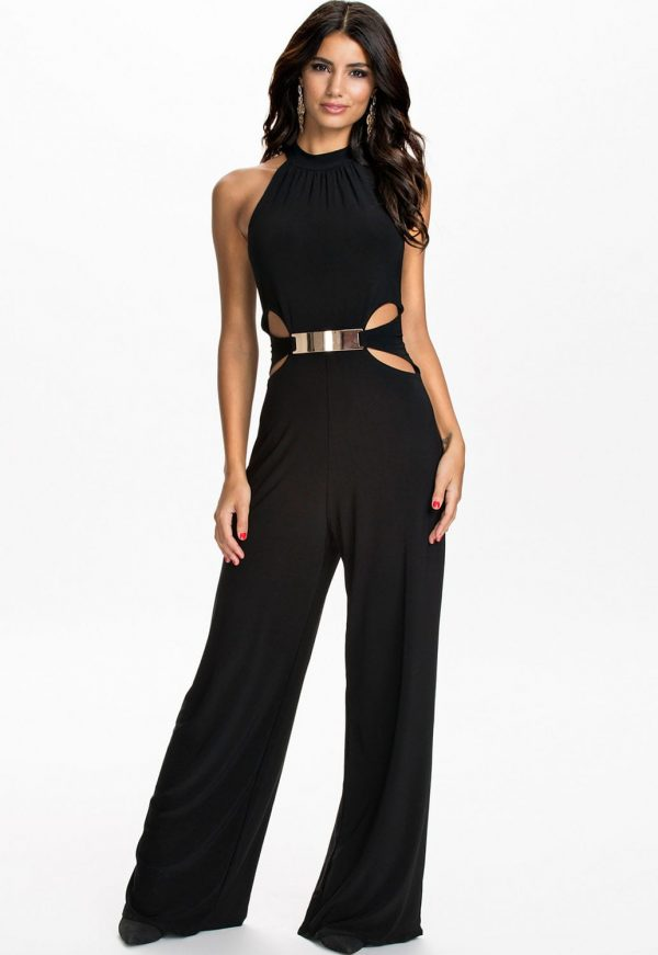 Women Sleeveless Cut Outs Black Halter Top Jumpsuit