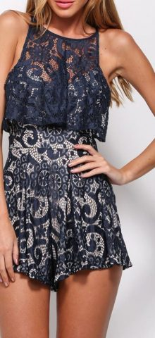 Women Sleeveless Flounce Navy Lace Cute Rompers