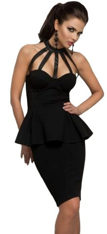 Women Sleeveless Off shoulder Halterneck Black Peplum Dress