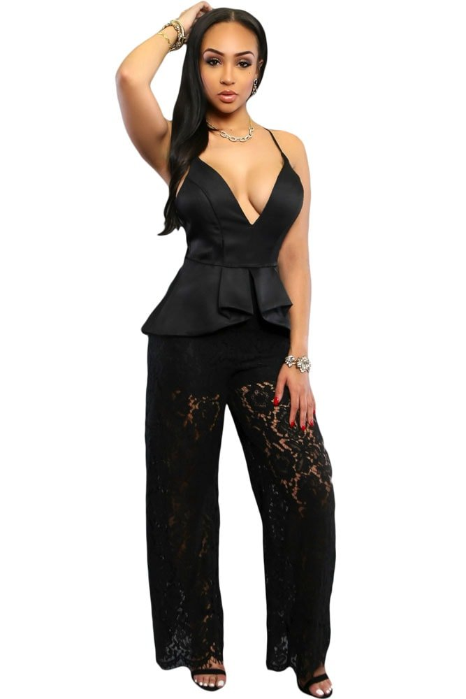 Women Spaghetti Straps Leg Lace Black Jumpsuit Outfit - Online Store for Women Sexy Dresses