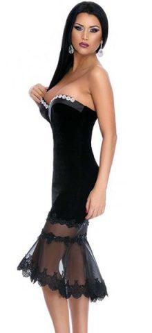 Women Strapless Tight Black Midi Bodycon Dress