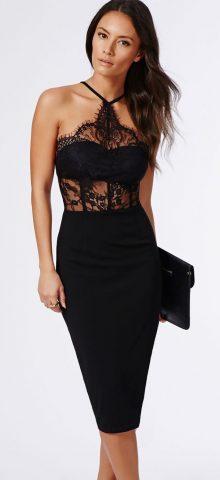 Women Summer Black Lace Halter Top Maxi Dess