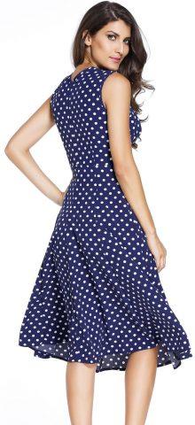 Women Summer Polka Dot Navy Skater Style Dresses