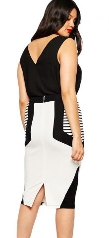 Women Summer Stripe Detail Plus Size Pencil Skirts