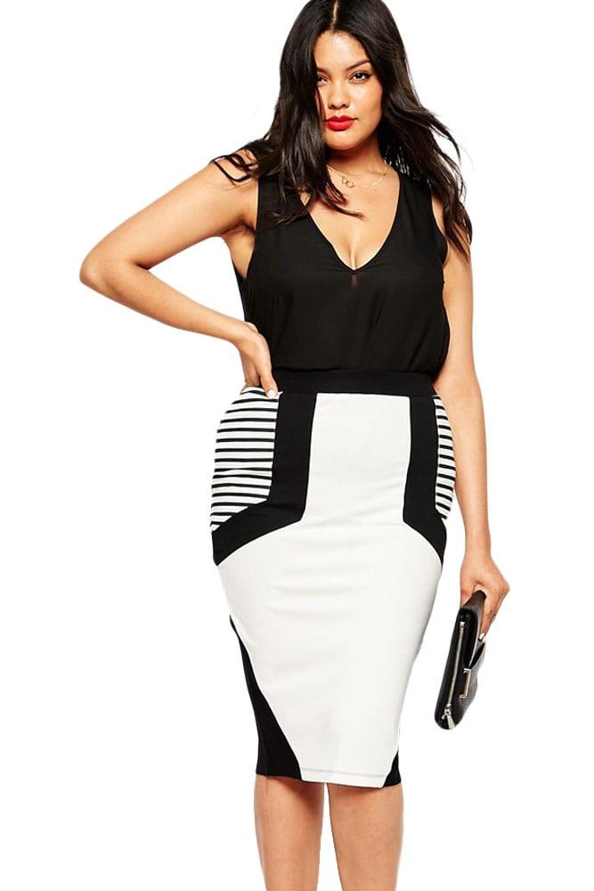 Women Summer Stripe Detail Plus Size Pencil Skirts ...