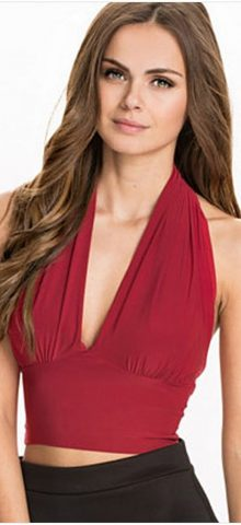 Women Tight Bandeau Red Cropped Halter Top