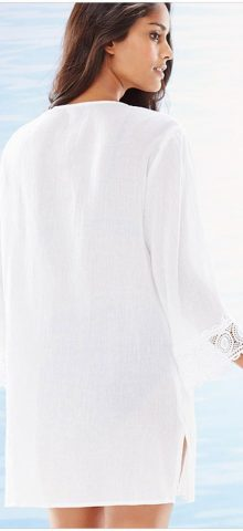 Women V-Neck Chiffon White Lace Bikini Cover Up