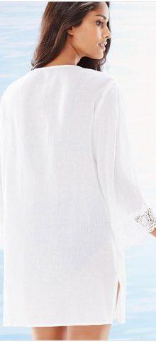 Women V-Neck Chiffon White Lace Bikini Cover Up