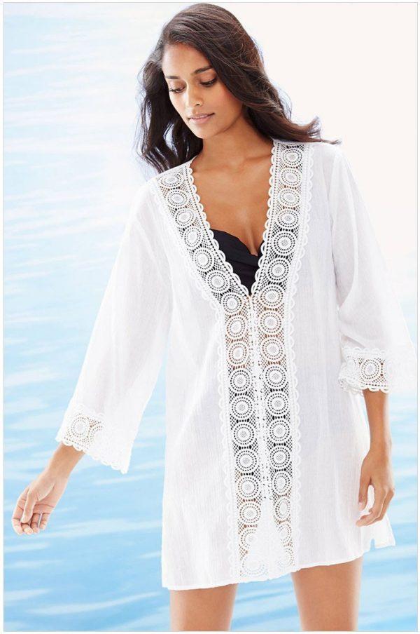 467c963654a8 Women V-Neck Chiffon White Lace Bikini Cover Up - Online Store for ...