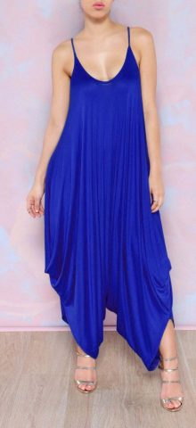 Women V Neck Strappy Wide Leg Royal Blue Jumpsuit