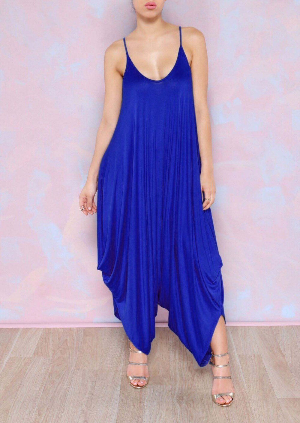 Beautiful Royal Blue Strapless Jumpsuit Sweetheart Ruched Jumpsuit For Women - Milanoo.com