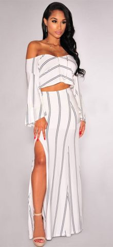Women White Sexy Off Shoulder Split Backless Gown