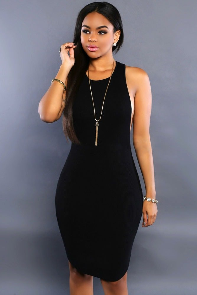 Black Daring Bodycon Sleeveless Midi Length Dresses