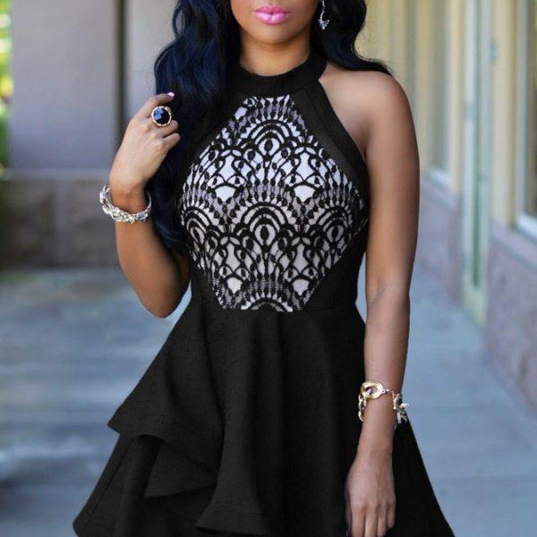 Elegant Black Lace Ruffle Girls Skater Dress Online