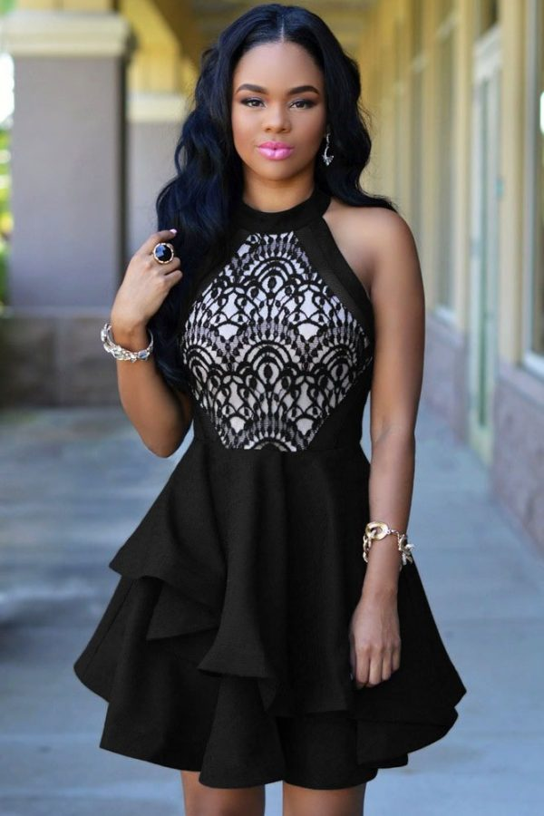 Elegant Black Lace Ruffle Girls Skater Dress Online