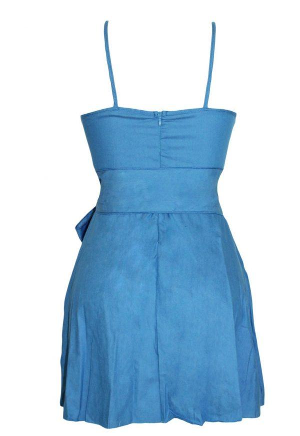 Hot Plunge V Strappy Denim Blue Skater Dress