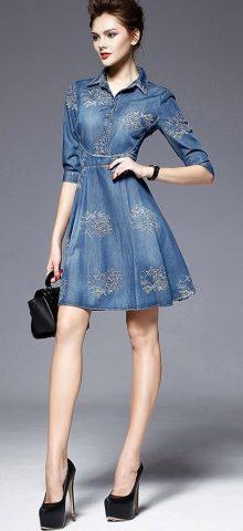 Hualong Flora Short Sleeve Short Denim Sundress .jpg Hualong Flora Short Sleeve Short Denim Sundress