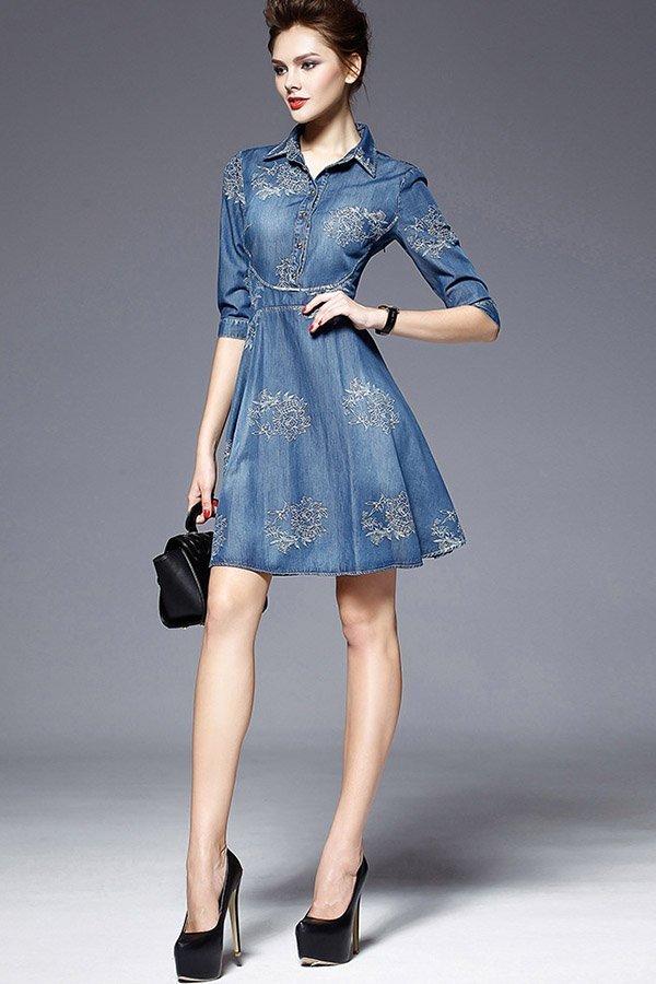 Hualong Flora Short Sleeve Short Denim Sundress Online